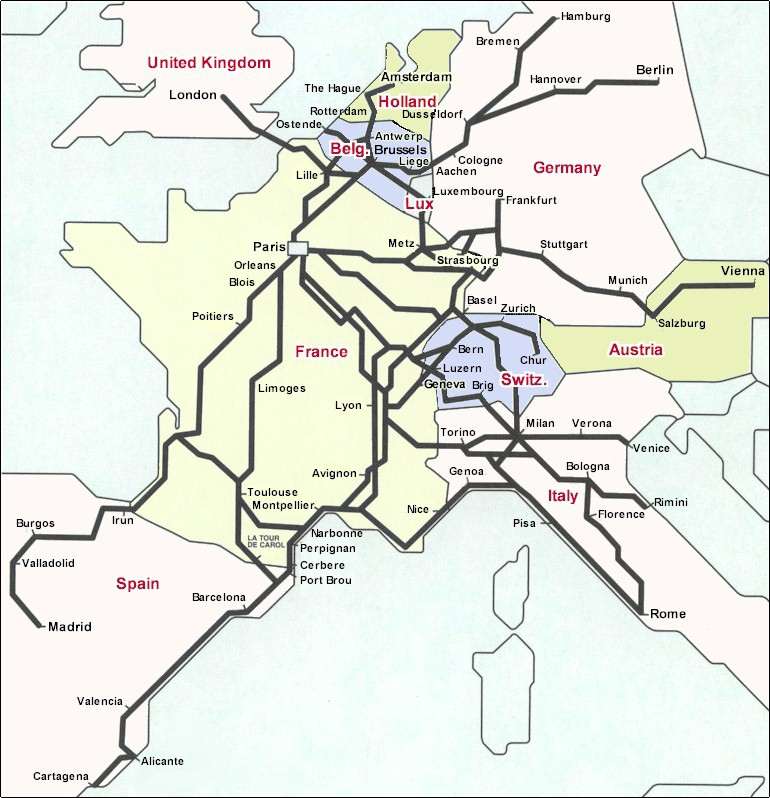 France On A Map Of Europe.France Rail Hub Of Europe The Gateway To Europe Train Travel