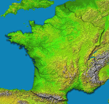 France, viewed from the NASA Shuttle Topography Radar Mission.