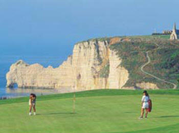 Golfing on the landscaped cliffs of Normandy