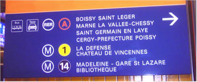 RER and Metro lines info-boards