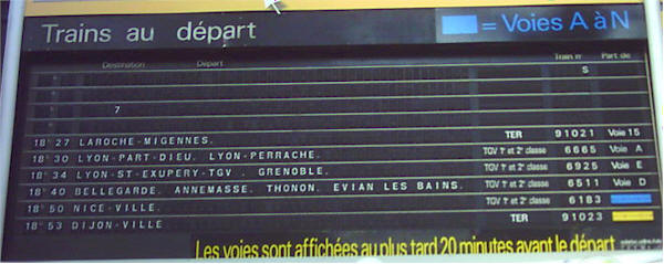 Train info-board. This one is for departing trains.