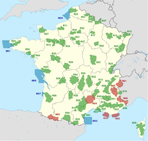 France National Reserve Parks, Marine Parks and Regional Parks