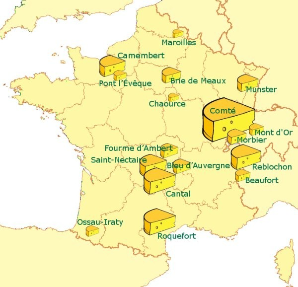 France Taste - Eight types of cheese... Maroilles, Brie, Camembert, Roquefort, Cantal ...