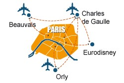 CDG airport shuttle. Orly airport shuttle. Beauvais airport shuttle personalized service