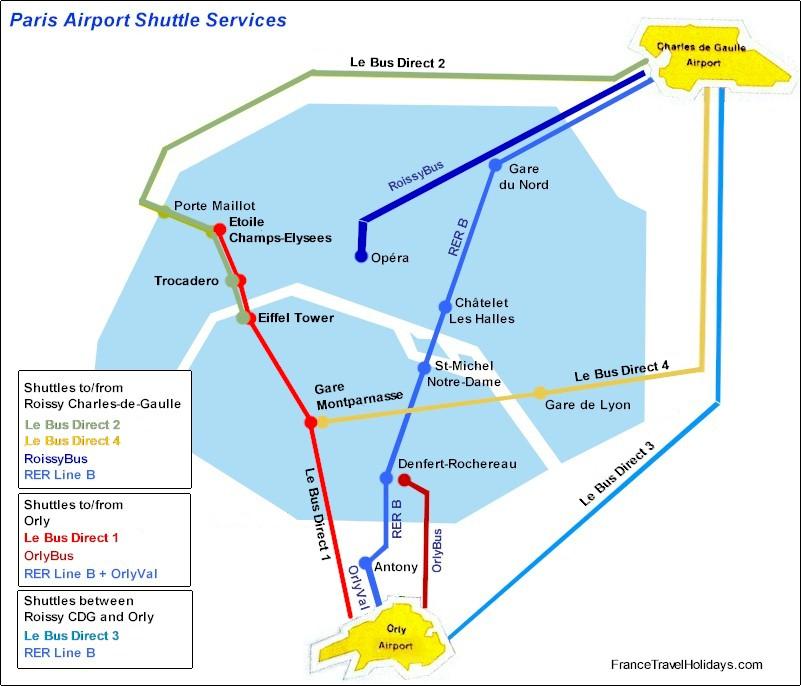 Paris CDG Airport Shuttle. Paris Orly airport Shuttle services.
