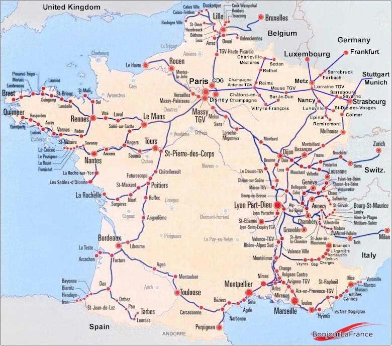 Map Of France Showing Lyon.Gare De Lyon Part Dieu Train Station Bonjourlafrance