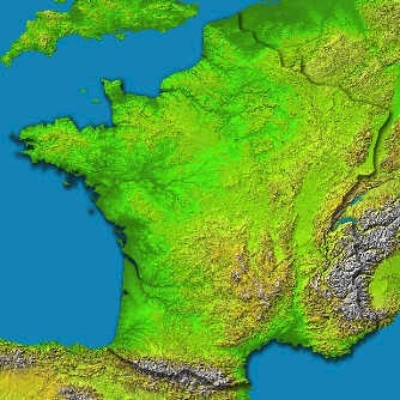 France Map Topgraphy