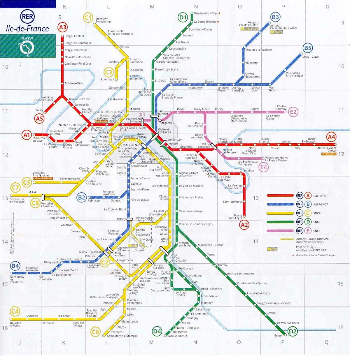 France Map Paris RER Network
