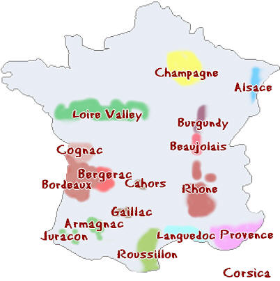 France Map Wine Regions